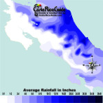 January monthly average rainfall contour map of Costa Rica