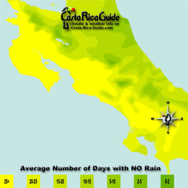 January monthly average number of days without rain contour map of Costa Rica