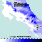 February monthly average rainfall contour map of Costa Rica