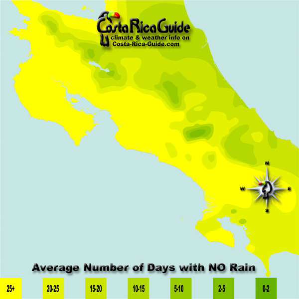 February monthly average number of days without rain contour map of Costa Rica