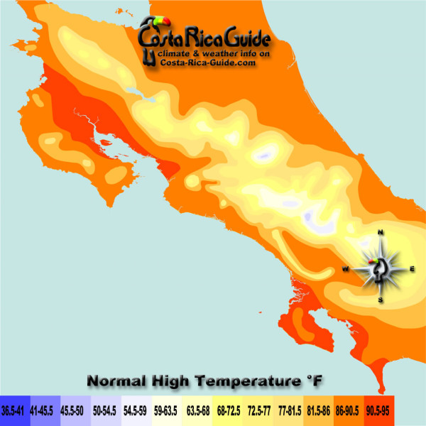 March High Temperatures contour map of Costa Rica