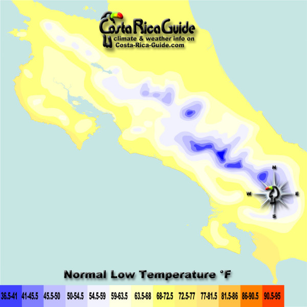 March Low Temperatures contour map of Costa Rica
