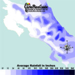 March monthly average rainfall contour map of Costa Rica