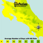March monthly average number of days without rain contour map of Costa Rica