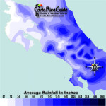 Apriol monthly average rainfall contour map of Costa Rica