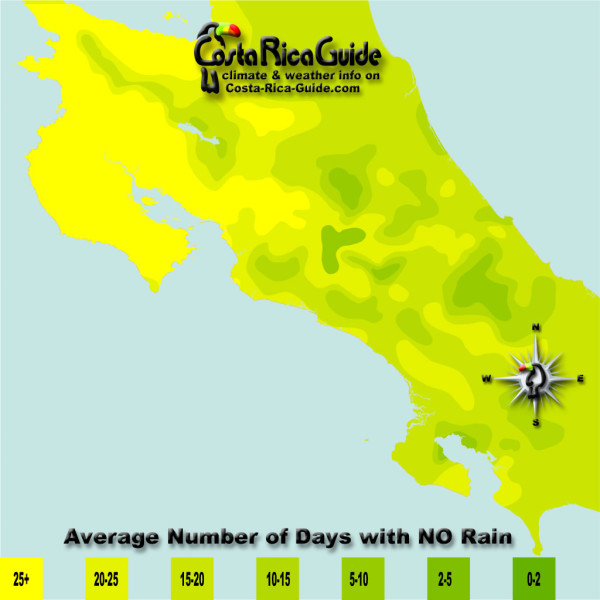 April monthly average number of days without rain contour map of Costa Rica