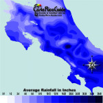 May monthly average rainfall contour map of Costa Rica