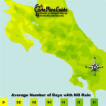 May monthly average number of days without rain contour map of Costa Rica