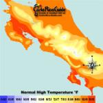 June High Temperatures contour map of Costa Rica