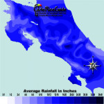June monthly average rainfall contour map of Costa Rica
