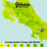 June monthly average number of days without rain contour map of Costa Rica