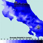 July monthly average rainfall contour map of Costa Rica