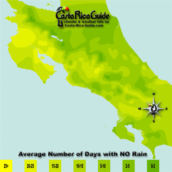 July monthly average number of days without rain contour map of Costa Rica