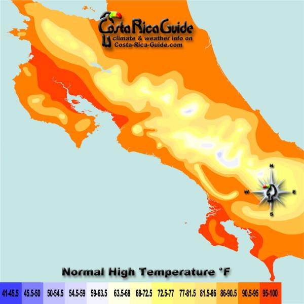 High Temperatures contour map of Costa Rica