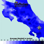 August monthly average rainfall contour map of Costa Rica