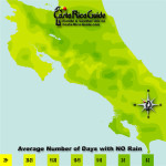 August monthly average number of days without rain contour map of Costa Rica