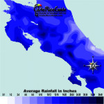 September monthly average rainfall contour map of Costa Rica