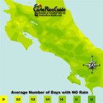 September monthly average number of days without rain contour map of Costa Rica