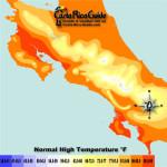 October High Temperatures contour map of Costa Rica