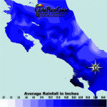 October monthly average rainfall contour map of Costa Rica