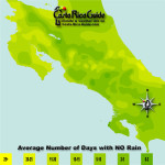 October monthly average number of days without rain contour map of Costa Rica