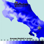 November monthly average rainfall contour map of Costa Rica