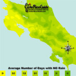 November monthly average number of days without rain contour map of Costa Rica