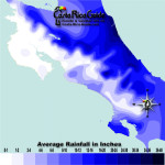 December monthly average rainfall contour map of Costa Rica