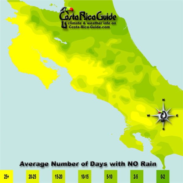 December monthly average number of days without rain contour map of Costa Rica