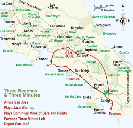 Map - Lots of Lefts Costa Rica Itinerary including one of the longest waves in the world