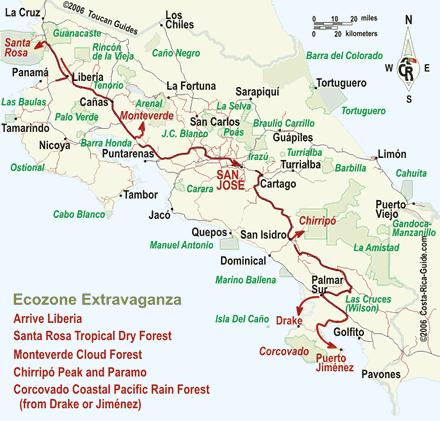 Ecozone Extravaganza Costa Rica Itinerary