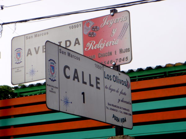 Sponsored street signs Costa Rica