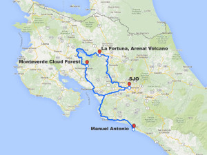 Arenal, Monteverde, Manuel Antonio driving route map