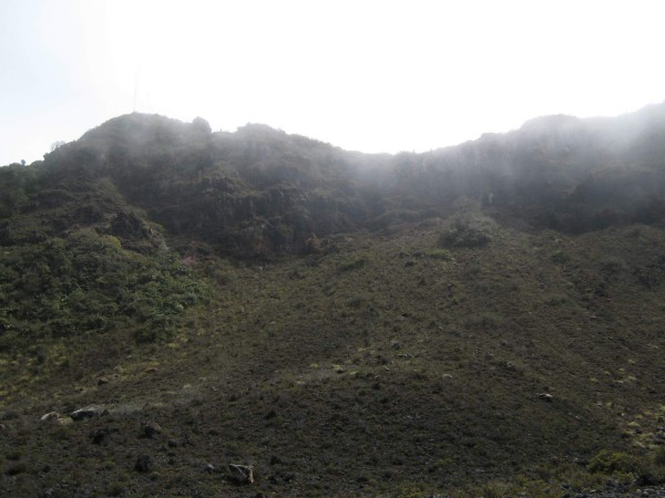 Looking up at the main rim from the center crater, Volcán Turrialba National Park