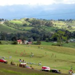 I wonder if the home team gets to defend the uphill goal on this soccer field on the slopes of Volcán Turrialba