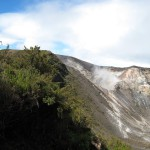 Volcán Turrialba. The steaming crater at the center is the west crater which has been so active since late 2009 that the trails in the park have been closed.