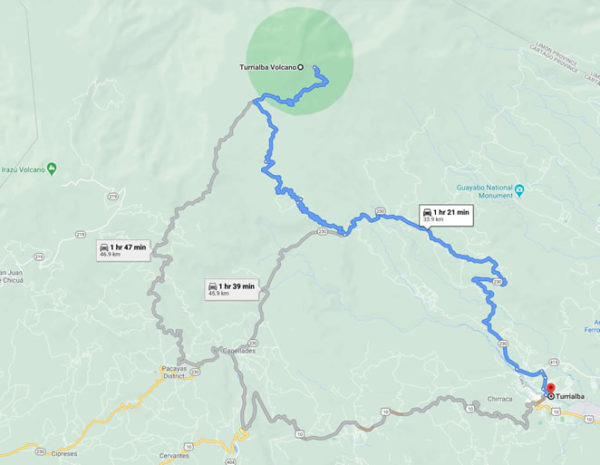 Driving Route to Turrialba Volcano