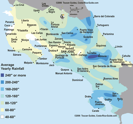 Costa Rica Rainy Season - Monthly Rainfall Map