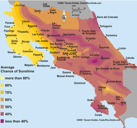 Map showing average hours of sunshine per day by region in Costa Rica