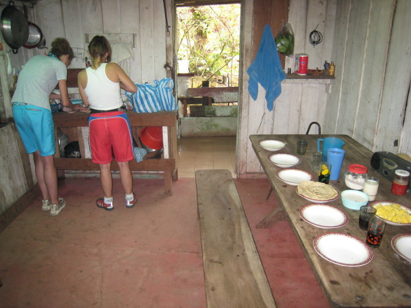Making breakfast in the house at the entrance to Quebrada Gato