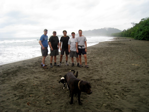 Our starting point for the trek was Playa Negra north of Puerto Viejo de Talamanca - lat 9.27716 lng -83.2751 elevation sea level. From left to right Andy Leach, Justin Hamel, Andres Madrigal, Chris Carpenter, Ray Krueger Koplin. Front row - the beach dogs (they didn't trek with us).