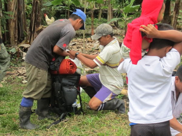 The porters had their food and supplies in burlap sacks