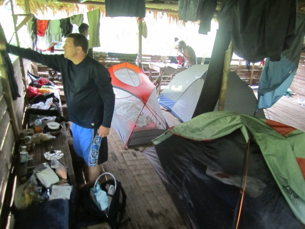 We set up the tents inside to keep the mosquitoes off while we slept, but it turned out there really weren't many