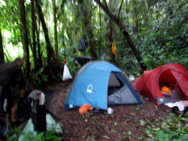Breaking camp in the rain