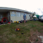 Breaking camp on the lawn of the EBAIS C.C.S.S. clinic in Cordoncillo on the morning of day 9