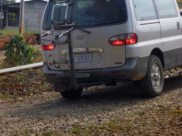 """Completely forgot to ask Javier about the Colorado license plate """"Mountain Biker"""" bumper stick on the support vehicle but it seemed appropriate because we all have ties to Colorado"""