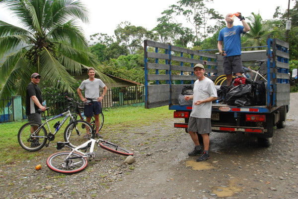 Our backpacks and a spare bicycle were carried on the support truck that followed us to the end of the road at Suretka
