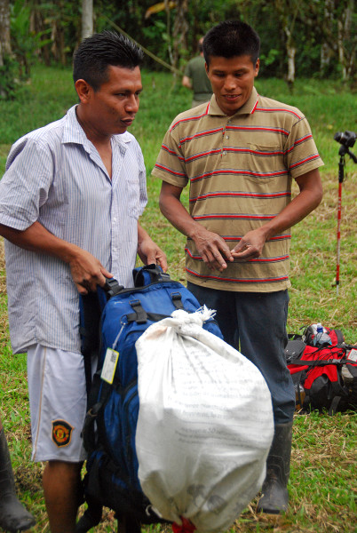 The porters had their food and supplies in burlap sacks that they attached to the top or outside of the backpacks we supplied