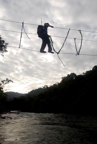 Crossing the cable bridge
