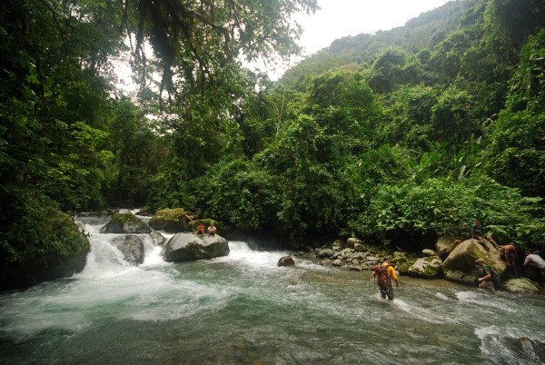 We were both relieved and disappointed to find that the Río Tapari water level was low enough that we could just walk across without setting up a roped traverse.